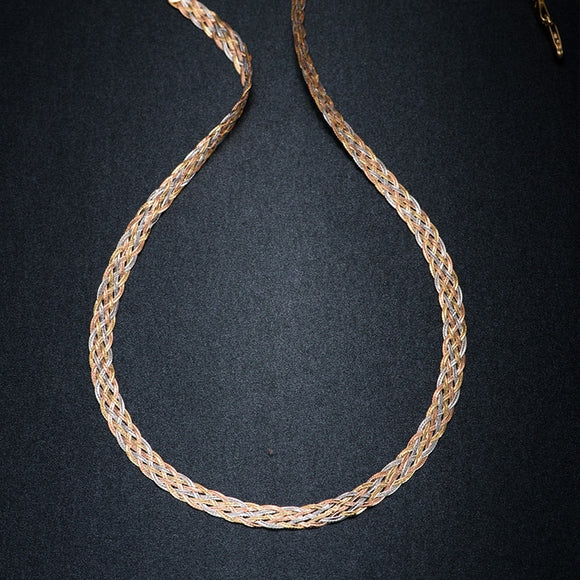 Necklace 18K Pure Gold Weaving Chain Flat