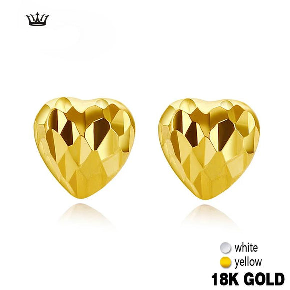 18k Pure Gold Earring White Yellow Heart Fine