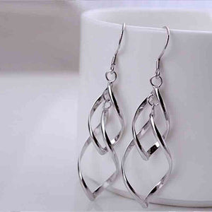 925 Sterling Silver Drop Earrings twisted feather blade