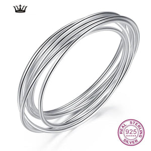 990 Sterling Silver Bangle Closed Laps Circle Solid Smooth Bracelet