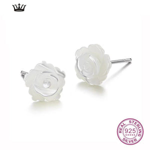 925 Sterling Silver Stud Earrings Rose Flower White