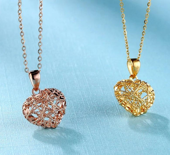 18K Pure Gold Pendant Hearts