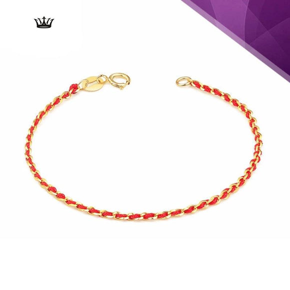 18K Pure Gold chain & braided thread Bracelet