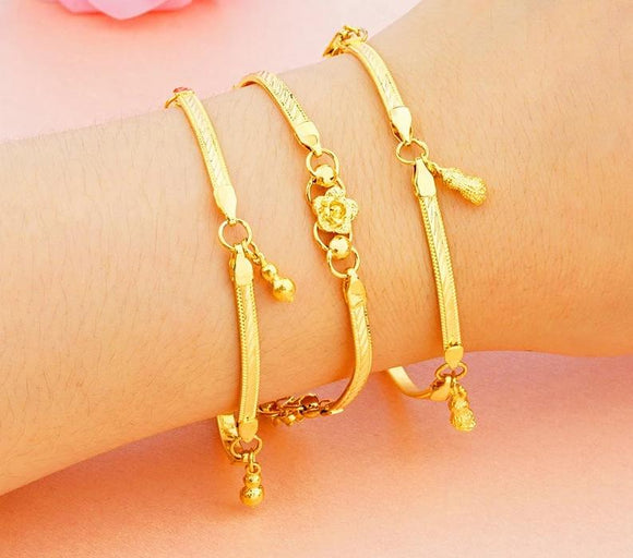 16 style, carved flowers bracelet 24k gold plated