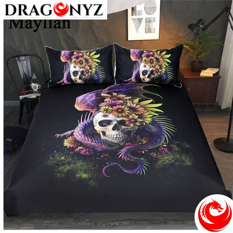 DRAGON BEDDING - FLOWERY SKULL