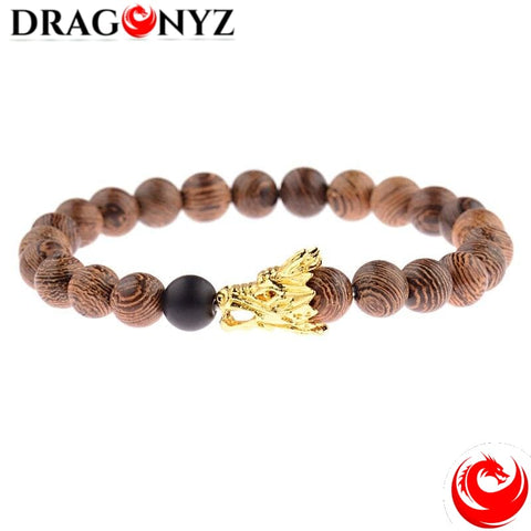DRAGON BRACELET WITH COLOURED BEAD