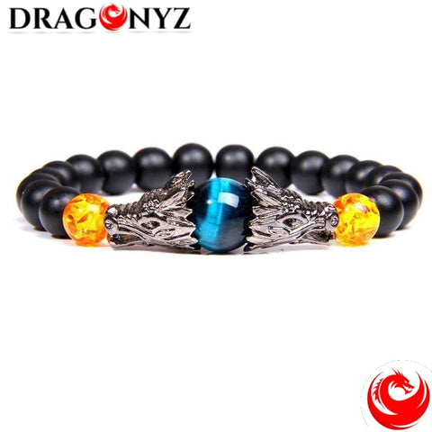 DRAGON BRACELET WITH COLOURED STONE IN THE MIDDLE