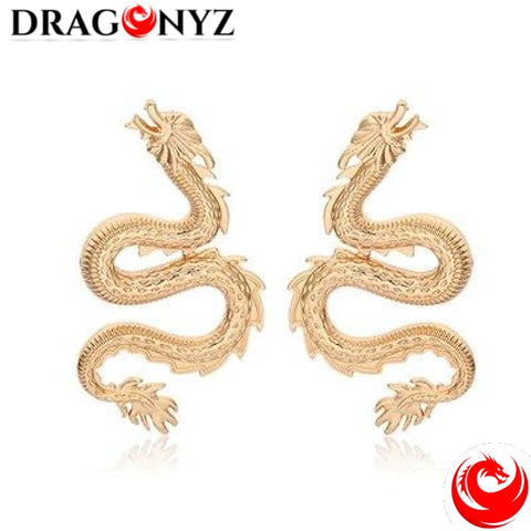 DRAGON EARRINGS - GOLD CHINESE