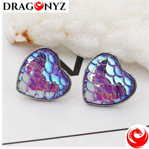 DRAGON EARRINGS - SCALE HEART SHAPED