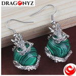 DRAGON EARRINGS - SILVER PLATED MALACHITE STONE