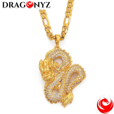 DRAGON NECKLACE - GOLD CHINESE WITH ZIRCON