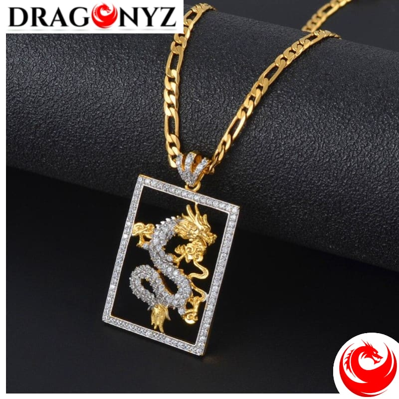 DRAGON NECKLACE - GOLD WITH ZIRCONIA