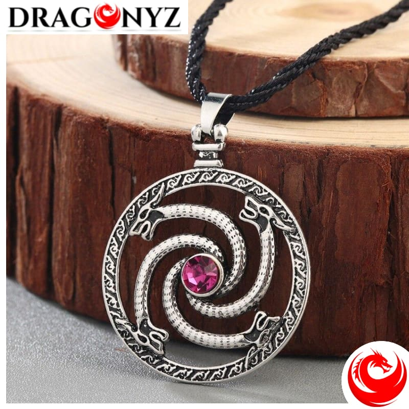DRAGON NECKLACE - MEN RED STONE