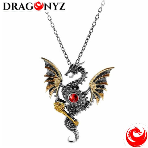 DRAGON NECKLACE - RED CRYSTAL