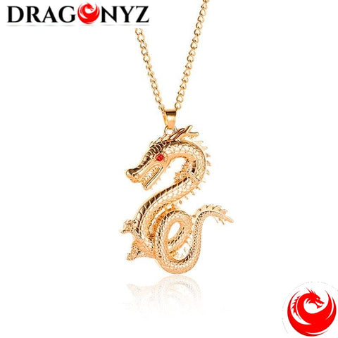 DRAGON NECKLACE - RED EYE GOLD