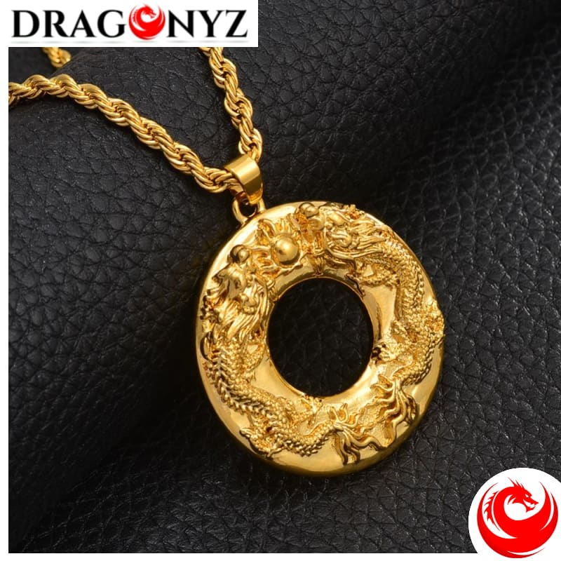 DRAGON NECKLACE - ROUND GOLD