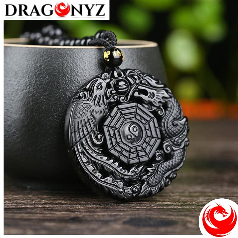 DRAGON NECKLACE - ROUND OBSIDIAN