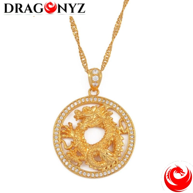 DRAGON NECKLACE - ROUND WITH ZIRCONIA