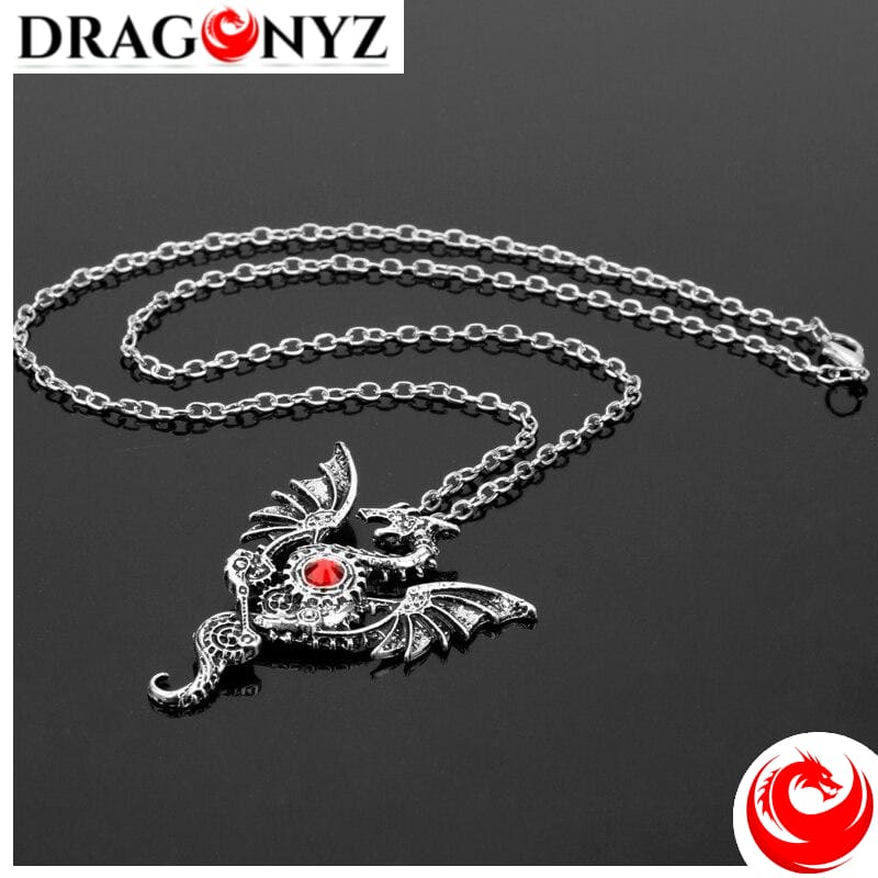 DRAGON NECKLACE - SILVER AND CRYSTAL