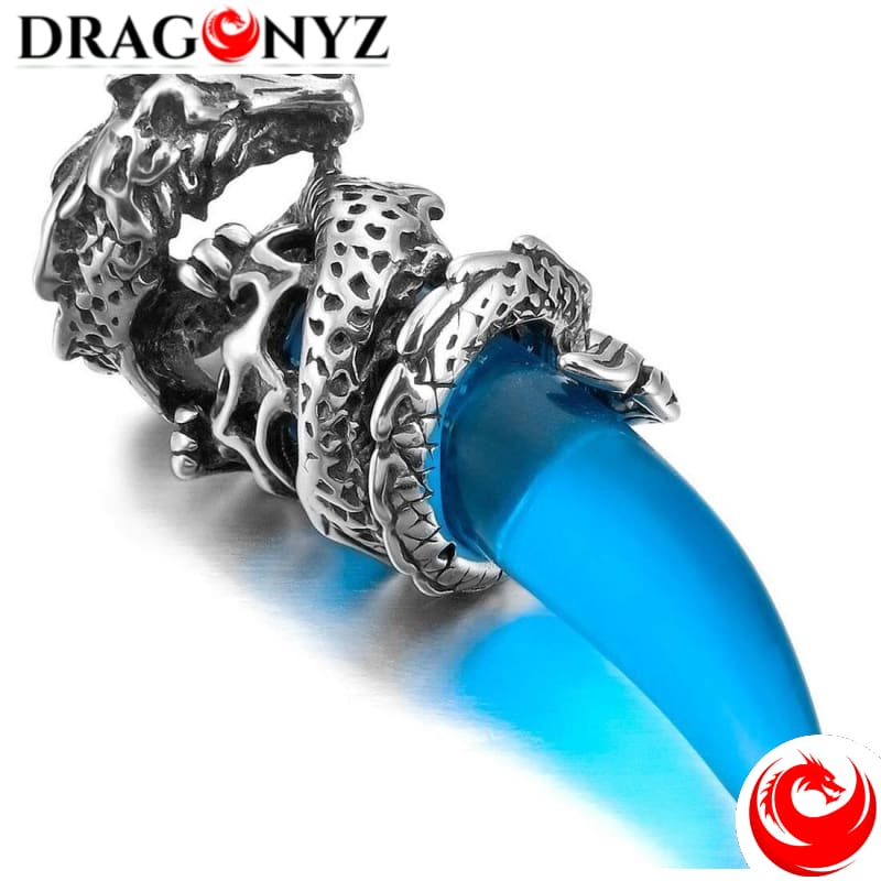 DRAGON NECKLACE - SILVER BLUE