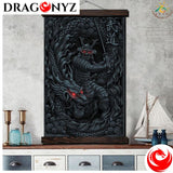 DRAGON PAINTING - SAMURAI AND DRAGON MODERN