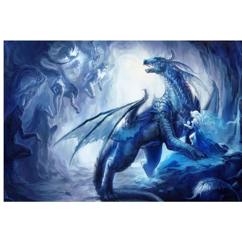 DRAGON PAINTING - SEXY GIRL AND BLUE DRAGON