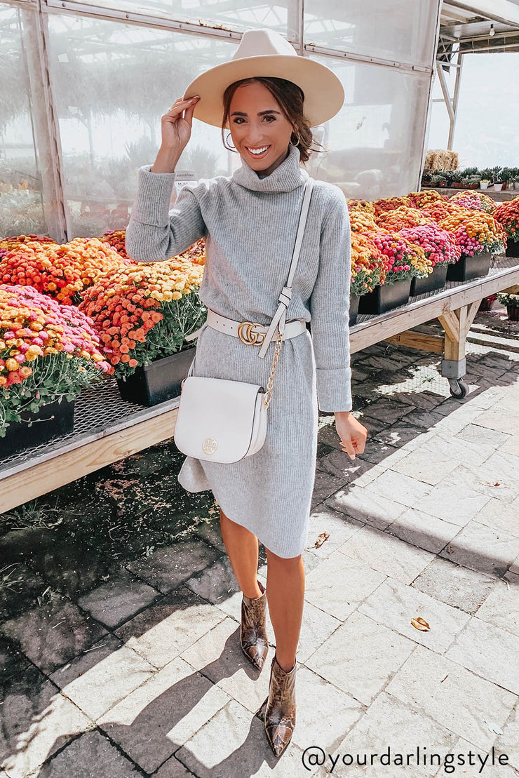 I'M TOTALLY COZY MIDI MOCK NECK SWEATER DRESS