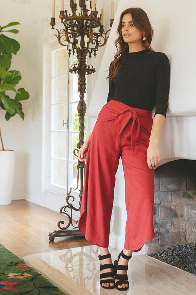 NOW OR NEVER BERRY LINEN CULOTTE PANTS