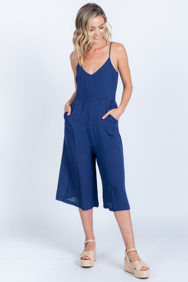 ON A GOOD DAY NAVY LINEN JUMPSUIT