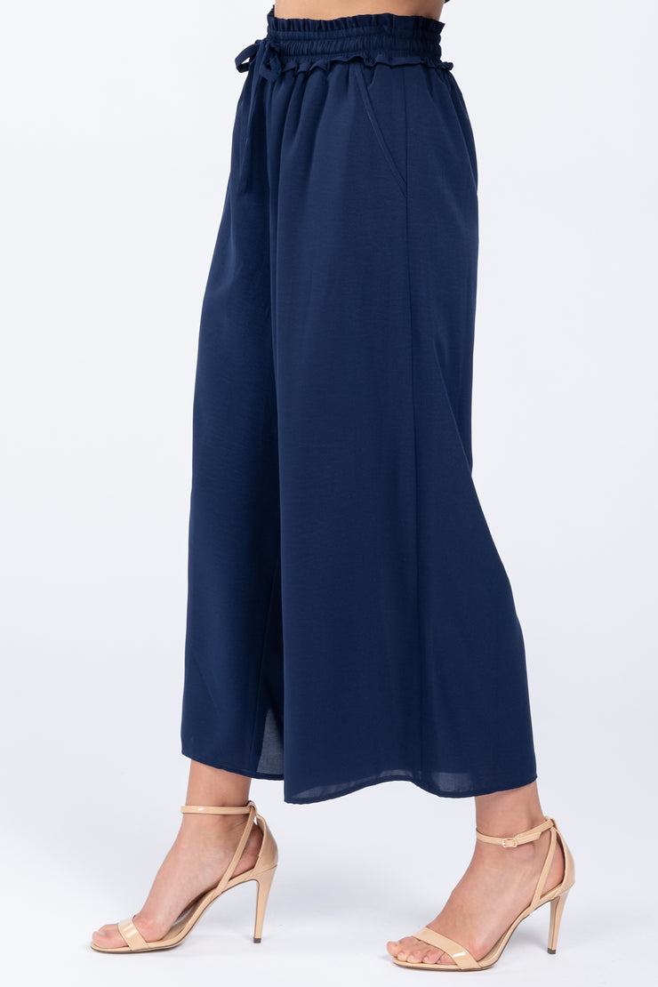 WORLD TRAVELER NAVY WIDE LEG PANTS