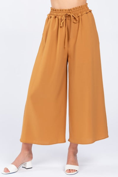 WORLD TRAVELER MUSTARD WIDE LEG PANTS