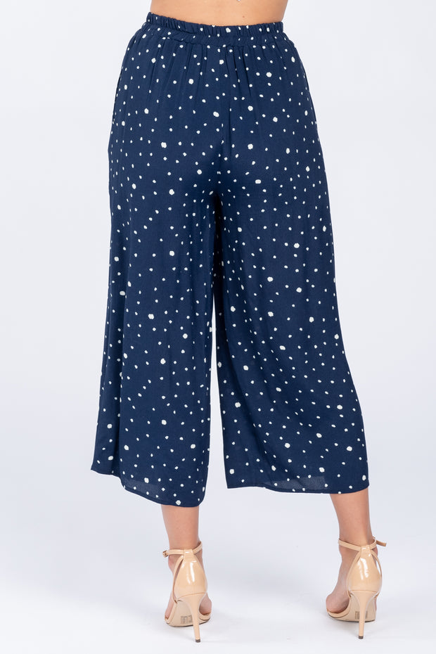 ON THE DOT PRINTED NAVY CULOTTE PANTS