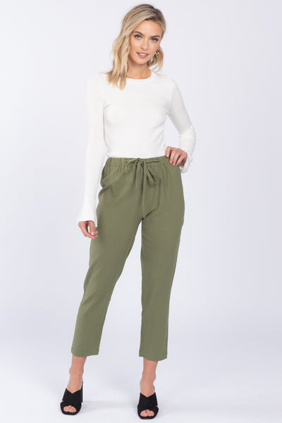 GRACIE OLIVE TAPERED PANTS