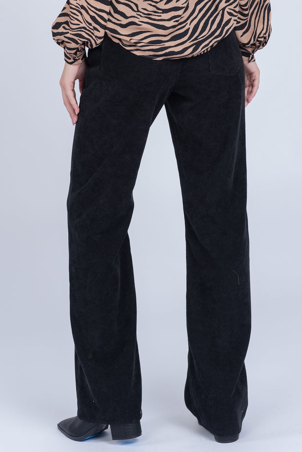 OLD TOWN ROAD BLACK STRAIGHT LEG CORDUROY PANTS
