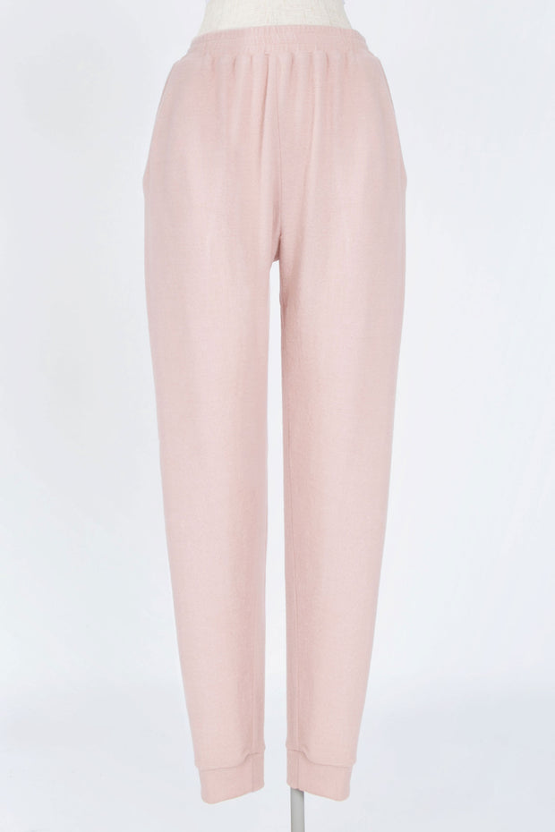 EARLY MORNINGS DUSTY ROSE BRUSHED KNIT JOGGERS