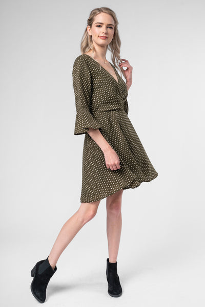 DAY DREAMER OLIVE POLKA DOT DRESS