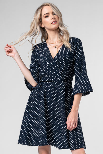DAY DREAMER NAVY POLKA DOT DRESS