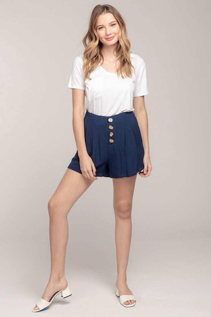 WARMER DAYS NAVY HIGH-WAIST SHORTS