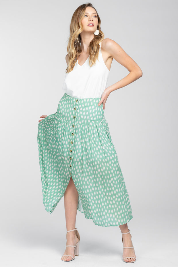SWING THIS WAY MINT MIDI SKIRT