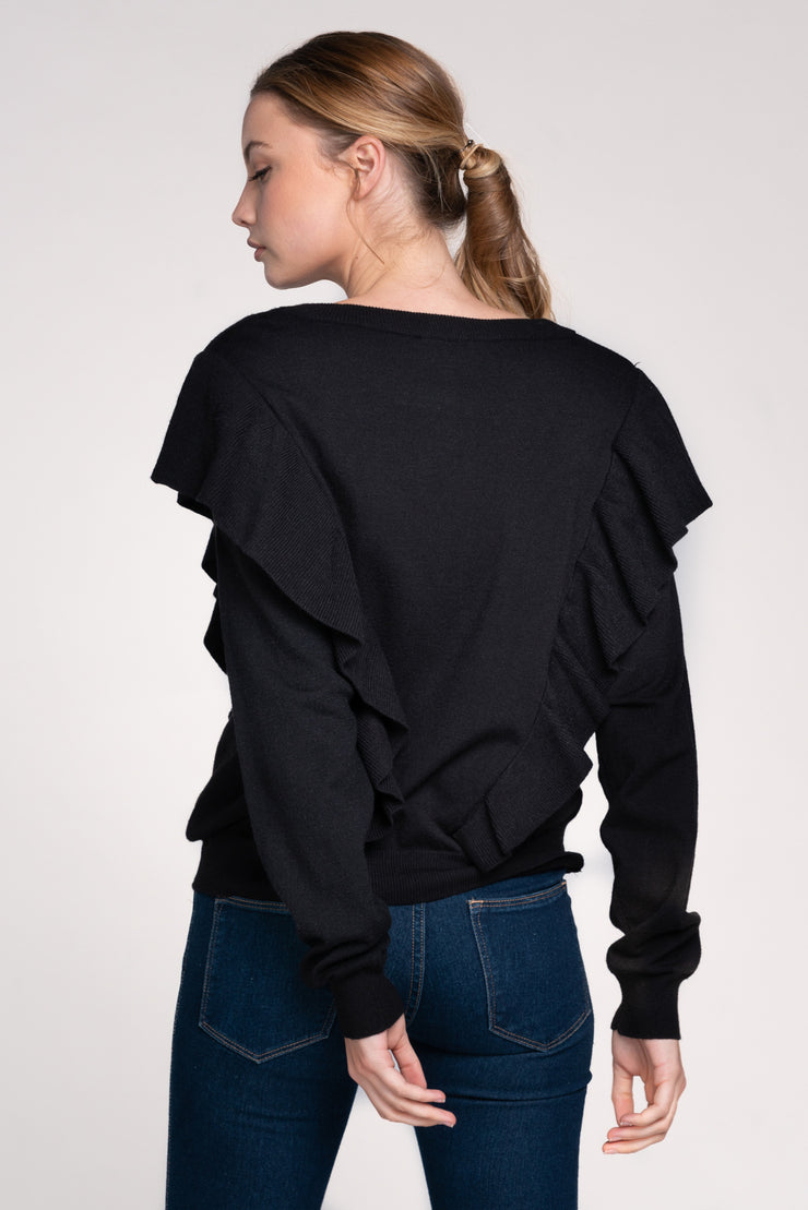 FIRST CHOICE BLACK RUFFLE KNIT SWEATER