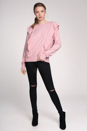 FIRST CHOICE BLUSH RUFFLE KNIT SWEATER