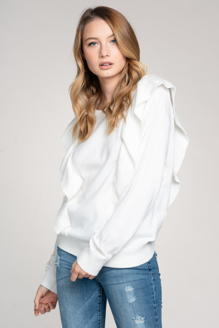 FIRST CHOICE IVORY RUFFLE KNIT SWEATER