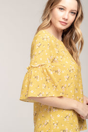 ALL YOURS YELLOW RUFFLE SLEEVE TOP