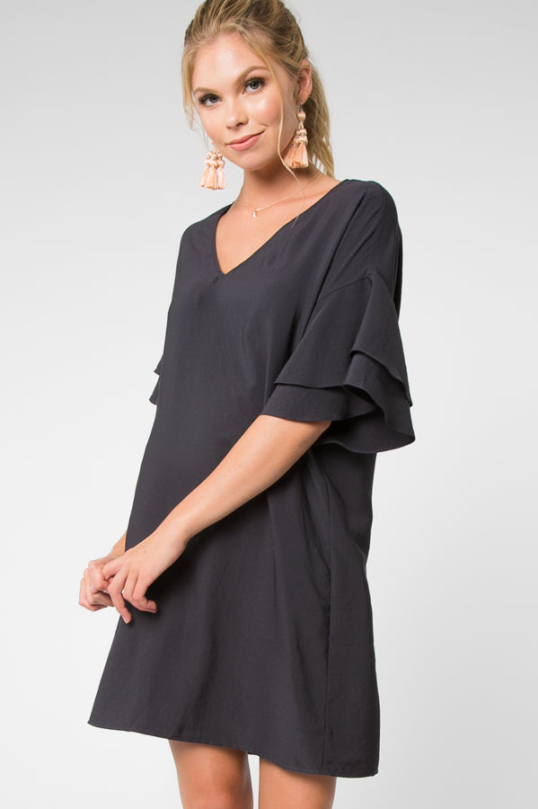 SIMPLY SWEET BLACK RUFFLE SLEEVE DRESS