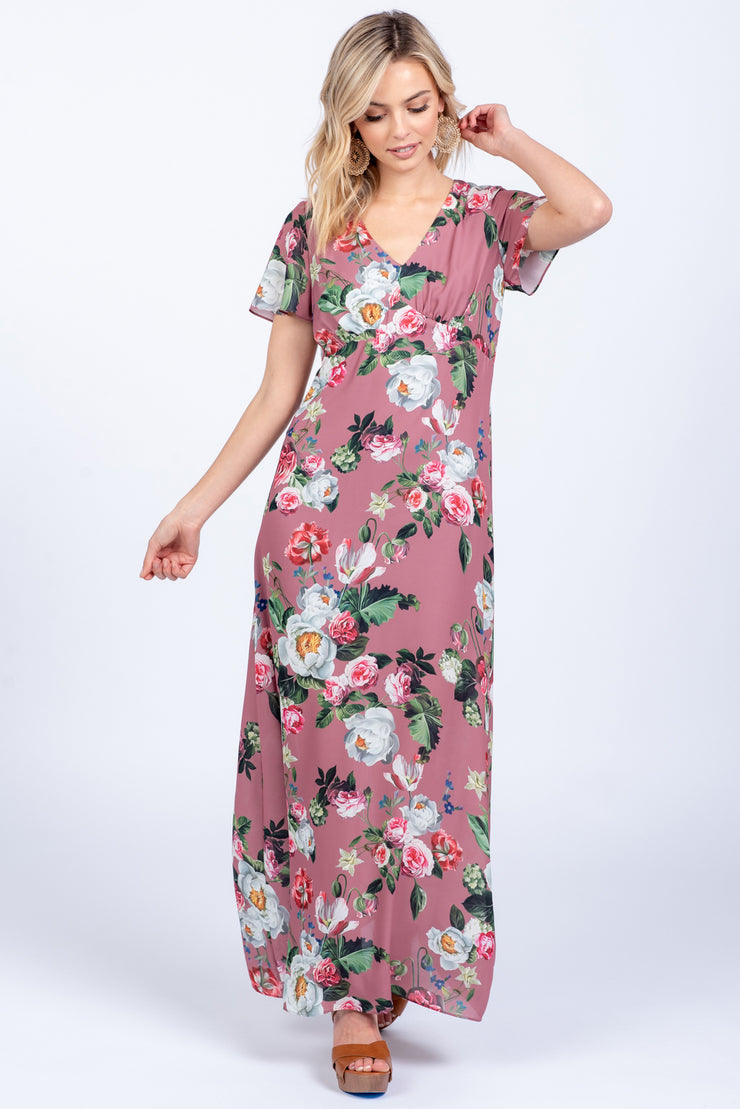 THINK OF ME MUSTARD PRINTED MAXI DRESS