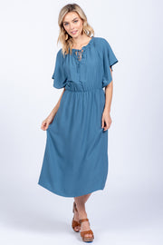 COFFEE DATE TEAL MIDI DRESS
