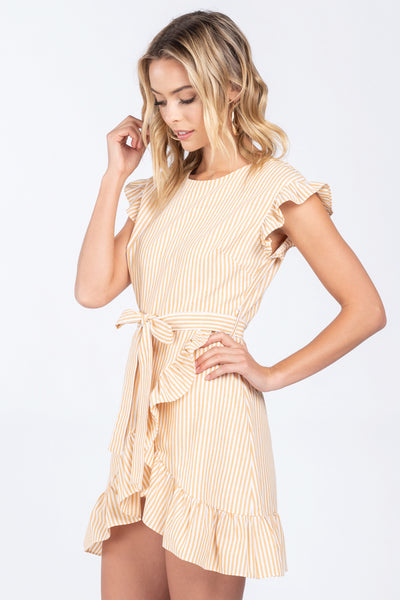 FOLLOW THE SUN YELLOW RUFFLE MINI DRESS