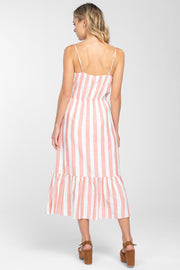 SWEET AND SUNNY STRIPED MIDI DRESS