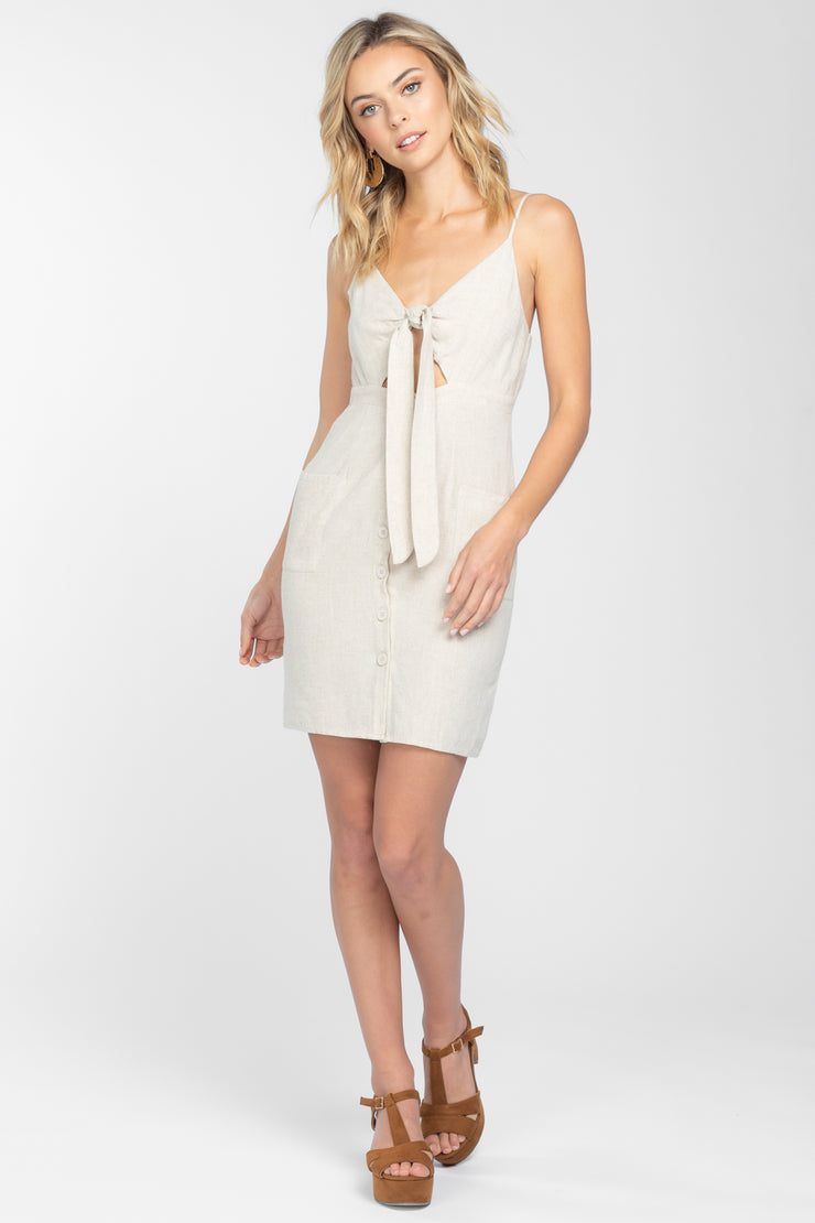 HAPPY TOGETHER OATMEAL MINI DRESS