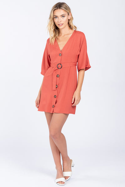 TAKE YOUR TIME SPICE LINEN DRESS
